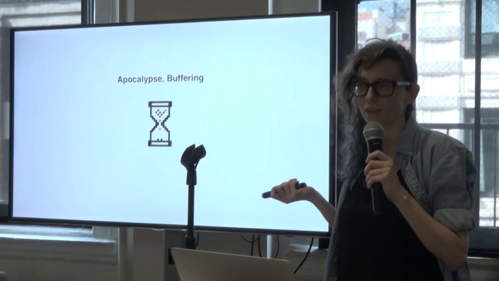"""""""Apocalypse, Buffering"""" with a pixel art hourglass below"""