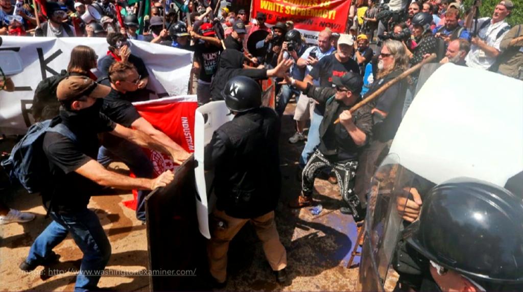 Protestors clashing
